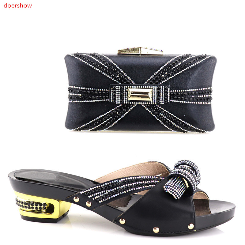doershow New Arrival Italian Design African Shoes and Bags Matching Set High Quality Italy Women Shoe and Bag Match XA05-16 doershow fashion women italian matching shoe and bags set with rhinestones high quality african wedding shoes and bag hvb1 87