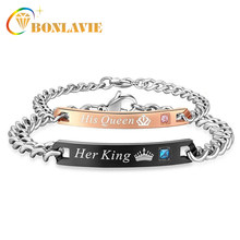 Her King His Queen Couple Bracelets for Women Men Titanium Steel Crystal Crown Charm Bracelets Drop Shipping(China)