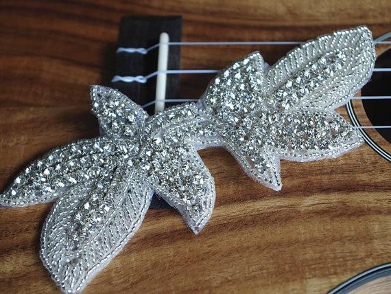 Strass applique cristallo swarovski bridal sash applique in
