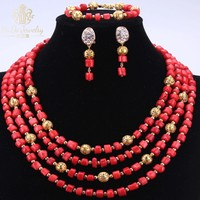 Hot Sale Nature Coral Beads Red African Nigerian Wedding Jewelry Sets 4 Layers Dubai Necklace Earrings Bracelet Sets Christmas