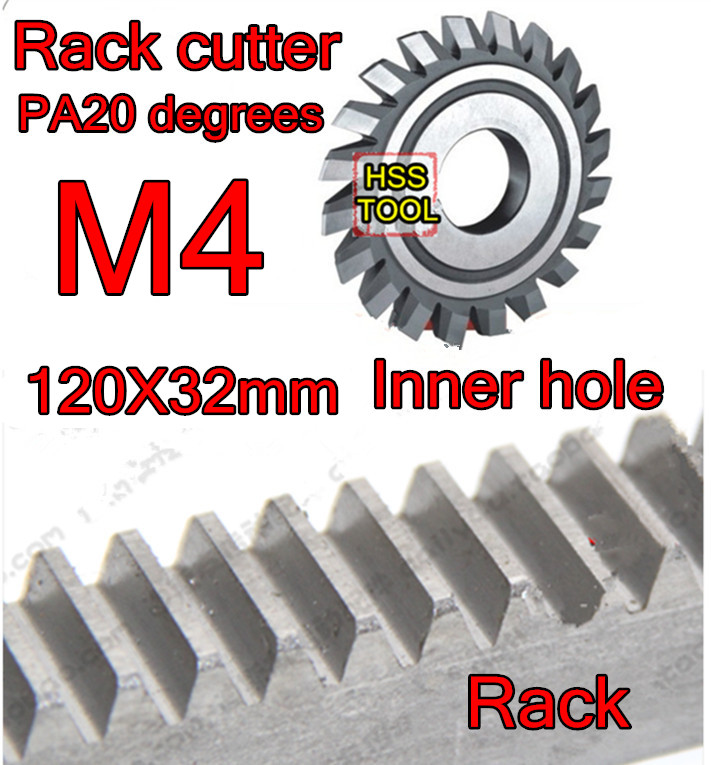 M4 Modulus PA20 degrees 120X32mm Inner hole HSS Rack Milling cutter Gear Cutting tools Free shipping