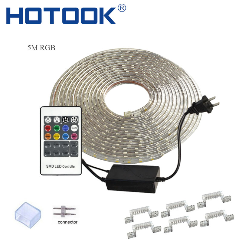 HOTOOK Fâșia LED 220V Tape RGB Rope 110V Ruban LED IP68 Rezistent la apă TV Tira Panglică flexibilă Neon Flex ForCeilling Outdoor