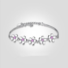 Everoyal Cute Crystal Pink Cherry Blossoms Bracelets For Girls Jewelry Fashion Silver 925 Women Accessories Lady Gift
