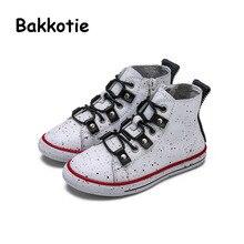 Bakkotie 2017 New Fashion Children Spring Autumn Baby Boy Casual Leisure Kid Brand Breathable Girl Trainer High Shoe Graffiti