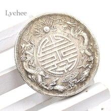 Личи 1 шт антикварные фэн-шуй китайские двойные драконы шарик счастливые монеты благоприятная монета