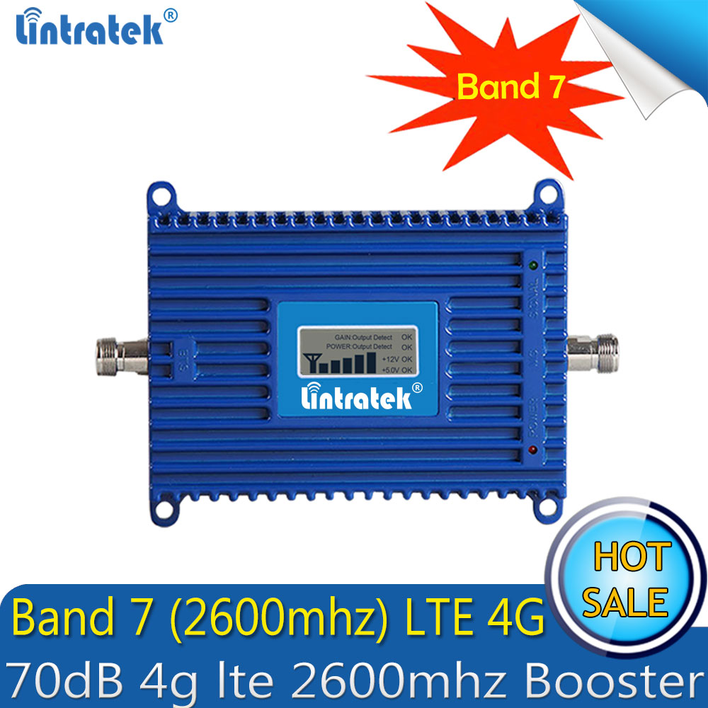 Lintratek 4G Signal Repeater LTE 2600Mhz 70dBi Cellphone Signal Booster 4G 2600 Amplifier AGC LTE Mobile Repeater