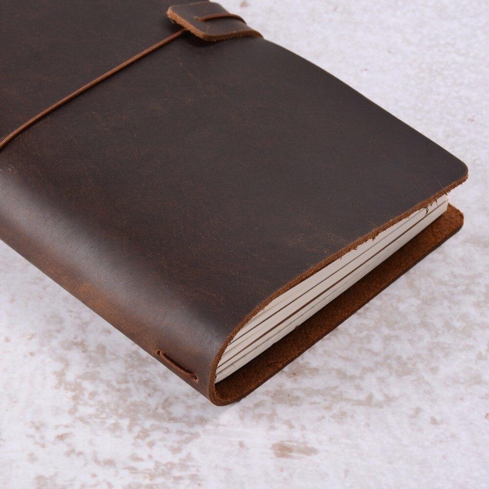 50 pieces / lot Standard Regular 220x125mm Genuine Leather Notebook Handmade Vintage Cowhide Diary Journal Sketchbook Planner