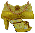 MM1007 Yellow Italian shoes and bag set African Fashion italian Shoes and Matching Bags set With New Buckle