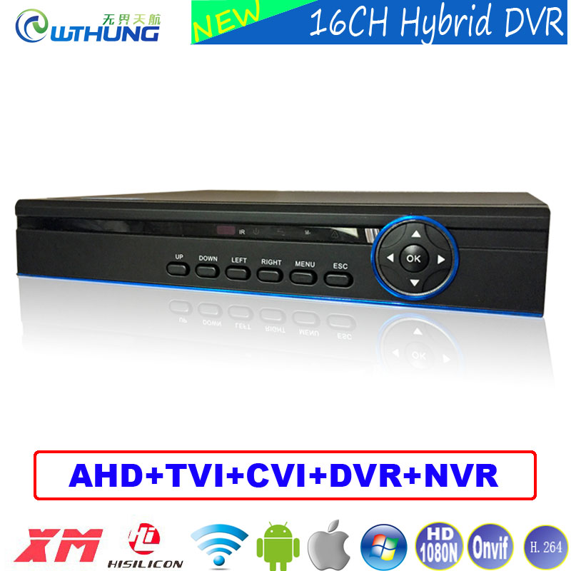 Hybrid 16 Channel 1080N 5 in 1 Coaxial DVR 16CH 720P/960P/1080P/960H support P2P onvif metal case For CCTV Surveillance Camera
