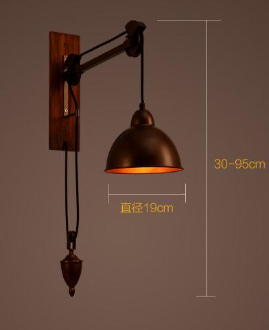 American vintage Iron loft industrial wall lamp indoor lighting bedside lamps wall lights for home 110V/220V E27 Edison Bulb tiffany baroque sunflower stained glass iron mermaid wall lamp indoor bedside lamps wall lights for home ac 110v 220v e27