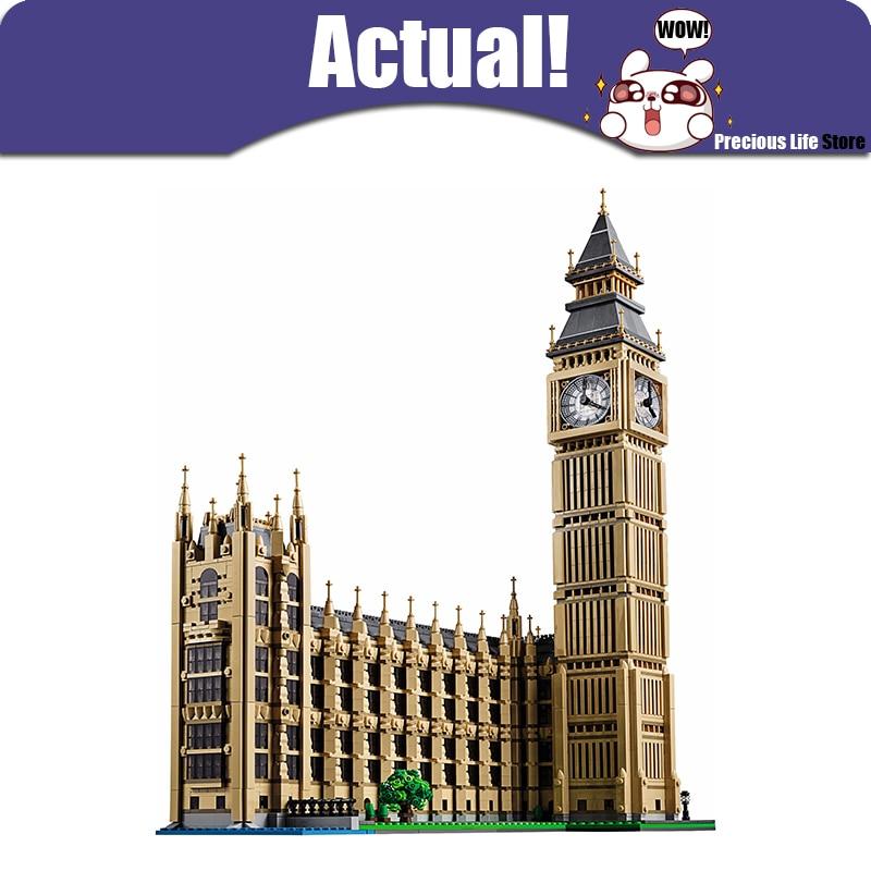 В наличии ЛЕПИН 17005 4163Pcs улицы города Биг-Бен в Башню Елизаветы модель строительные комплект блоков кирпича детские игрушки Создатель 10253
