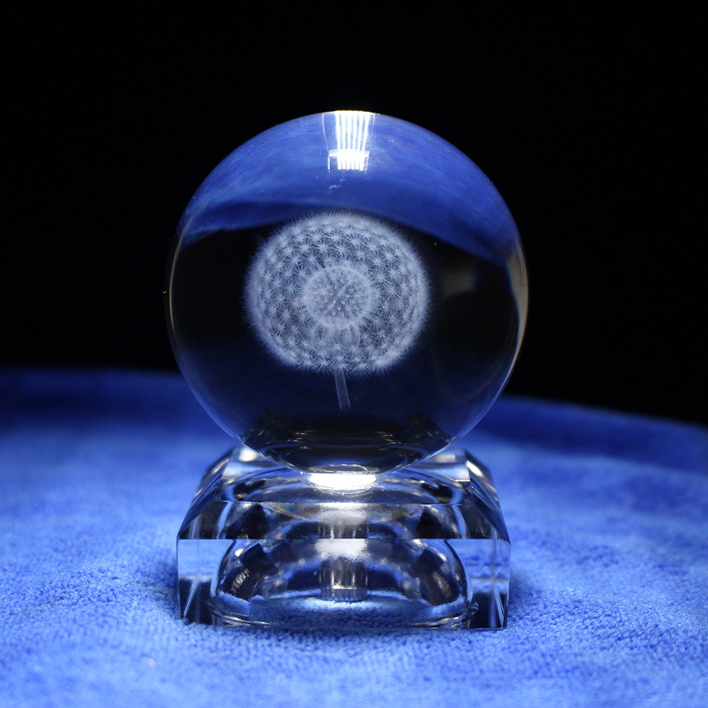 Home Decoration Crystal Ball Laser 3D Plant Dandelion Creative Feng Shui Business Office Desk Paperweight