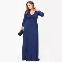 Lady Summer Maxi Dress Women Solid Sexy V Neck Long Dresses Blue Full Sleeves Vestidos De