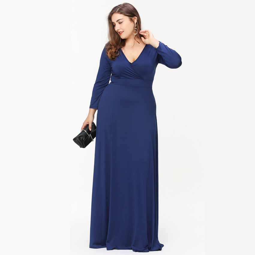 Red Maxi Dresses Autumn 2017 Long Sleeves High Waist Women's Clothing V-Neck Blue Dress Feminine Plus Size Vestidos Mujer X6002