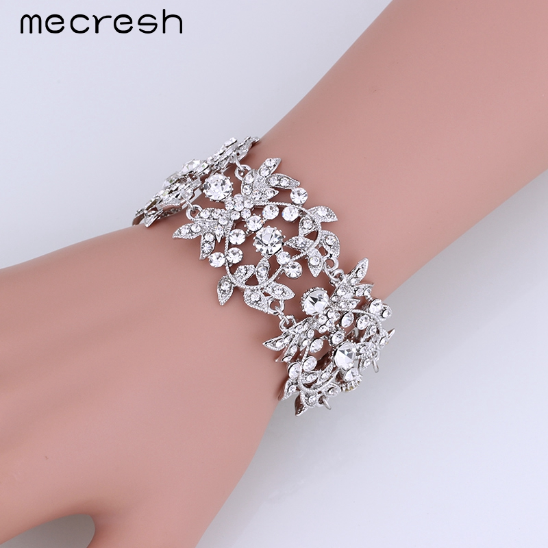 Mecresh Charm Heart Bracelets & Bangles para Mujeres Clear Leaf Crystal Bridal Pulseiras Wedding Party Jewelry Regalo de Navidad SL172