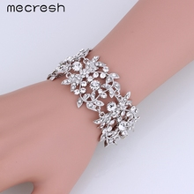 Mecresh Heart Charm Silver Bracelets for Women Clear Crystal Leaf Bridal Chain Link Female Wedding Party Jewelry SL172