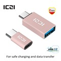 ICZI USB C to Micro USB Adapter + USB C to USB 3.0 Adapter for Macbook Chromebook Pixel HTC 10 LG G5 Nexus 5X/6P (Rose Gold)
