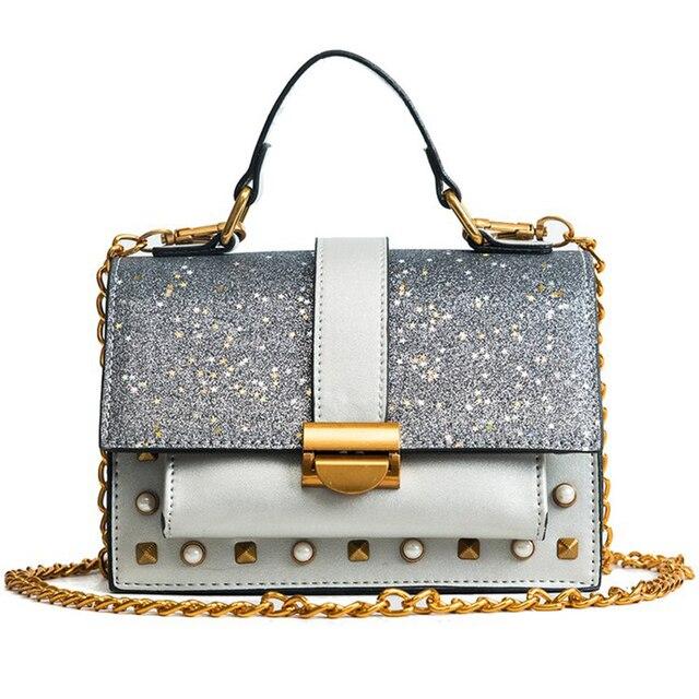 3c23dfe2af86f Elegant Fashion Women Sequins Shoulder Bag Quality Pu Leather Handbag Ladies  Flap Buckle Chain Strap Crossbody Bags Female Sac