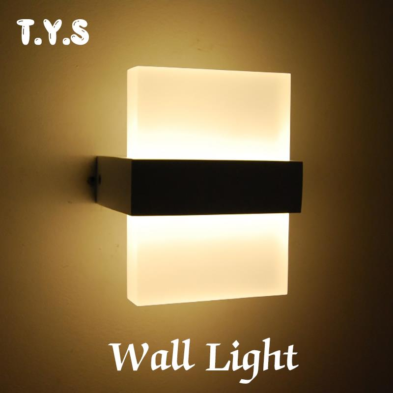 Led Acrylic Wall Lamp Indoor 110V 220V Wall Mounted Loft Sconce Bedroom Bedside Lights Kitchen House Lighting Fixtures For Home modern t shirt led wall lamp mounted light bedroom bedside sconce acrylic lampshade white painting indoor home lighting