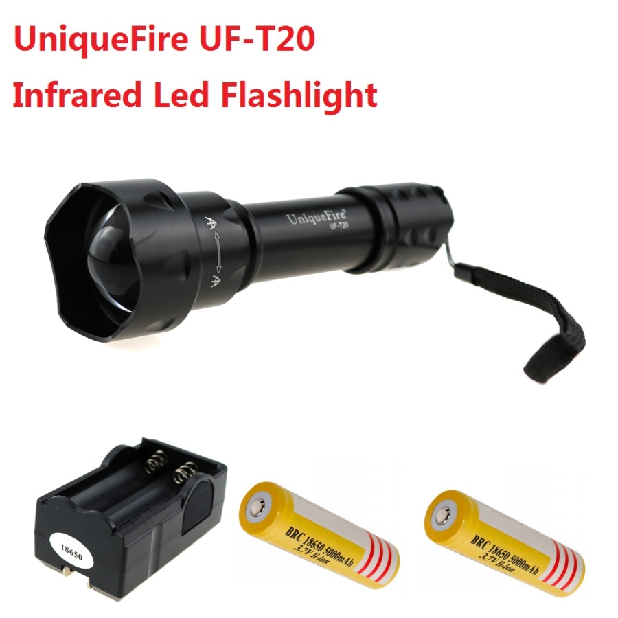 UniqueFire UF-T20 CREE Infrared IR850nm 3 Core Led Light 1 Mode Tactical Led Flashlight Torch Lamp + 2x18650 battery +EU Charger