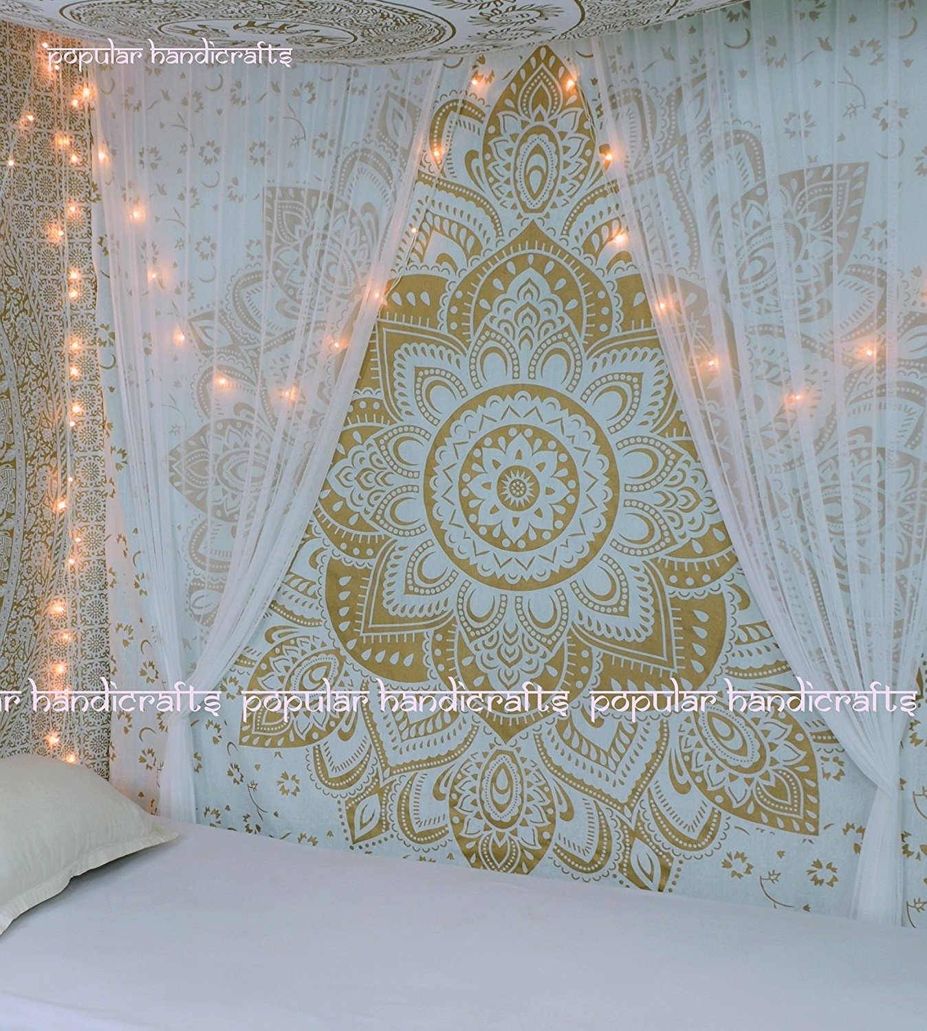 New Launched The Passion Gold Ombre Tapestry Indian Mandala Wall Art, Hippie Wall Hanging, Bohemian Bedspread