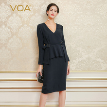 VOA Silk Navy Blue Women Work Dresses Sexy Straight Solid Sashes Knee-Length V-Neck Long Sleeves 2017 New Fashion Vestido A5345