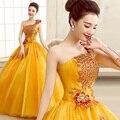 Nuevo 2015 de color melocotón vestidos de quinceañera balón vestido de gasa amarga del fleabane