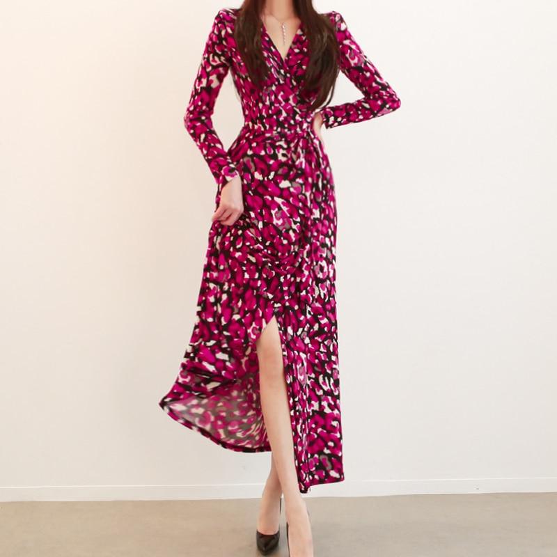 Longues Coréen Robes Soirée Ete D'hiver De Vêtements 2018 Robe Femmes Manches Maxi Femme Automne Pic As Vintage Mode Nouveau w7v6Xxq0
