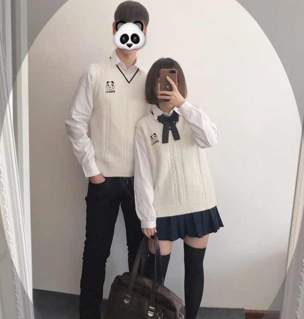 Japanese girl pullover sweater vest girls cute Panda Baby ...