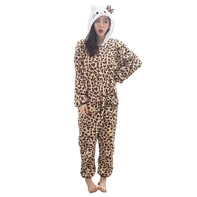f277e87cf1fc Hot Cat Leopard Pajamas Funny Adults Onesies Kitty Cat Onesie Japanese  Anime Hello Kitty Costumes Carnival Party Women COS