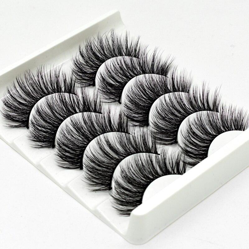 Mink Eyelashes HandMade Makeup 3D Mink Lashes Natural False Eyelashes Long Eyelashes Extension 5 Pairs Faux Fake Lashes