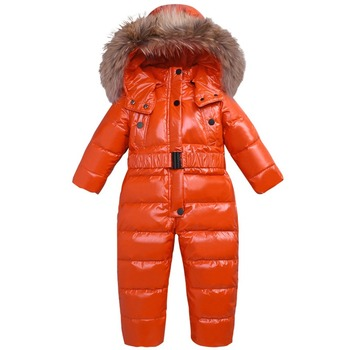 Dollplus New Baby Jumpsuits Winter Kids Boys Girl Overalls Rompers Snowsuit White Duck Down Children Jumpsuit Hooded Rompers