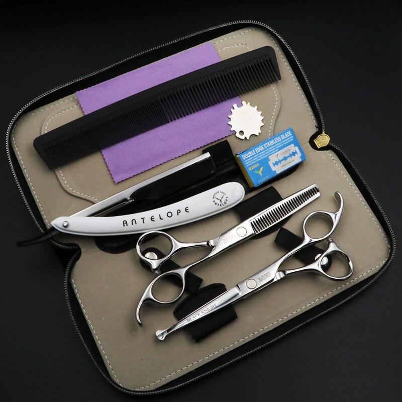 Tesouras de Cabeleireiro Tesouras de Corte Cavaleiro Negro 6 Polegada Cabelo Profissional Conjunto Barbeiro Uso da Segurança da Criança