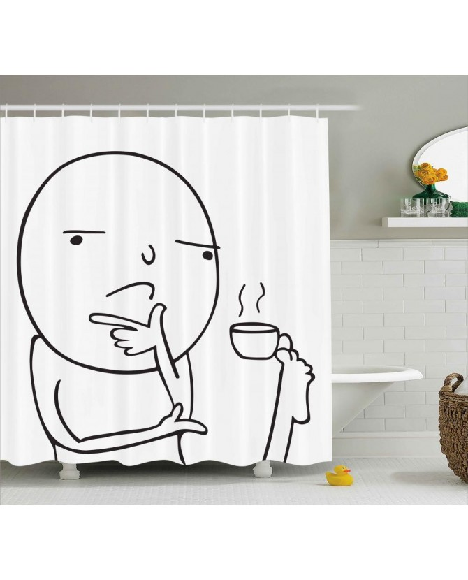 Humor Shower Curtain Thoughtful Meme Coffee Print For BathroomWaterproof And Fabric Kids