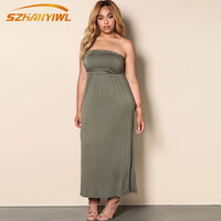 SZHANYIWL 2017 summer fashion new plus size women's clothing fat mm knitted spandex pure color sleeveless wrist dress gray green