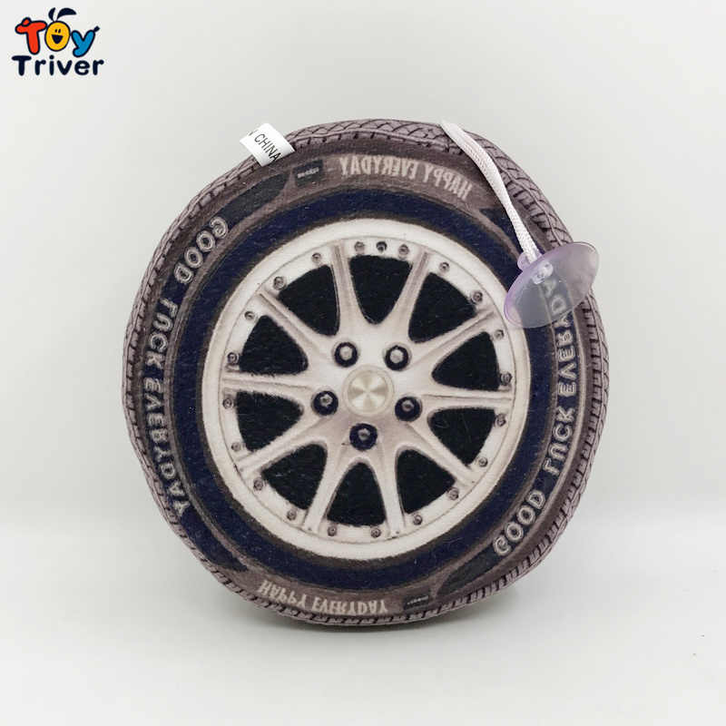 14cm Plush Automobile Wheel Tire Vehicle Toy Reallife Pendant Baby Kids Boy Birthday Car Race Cheap Gift Home Shop Decor Triver