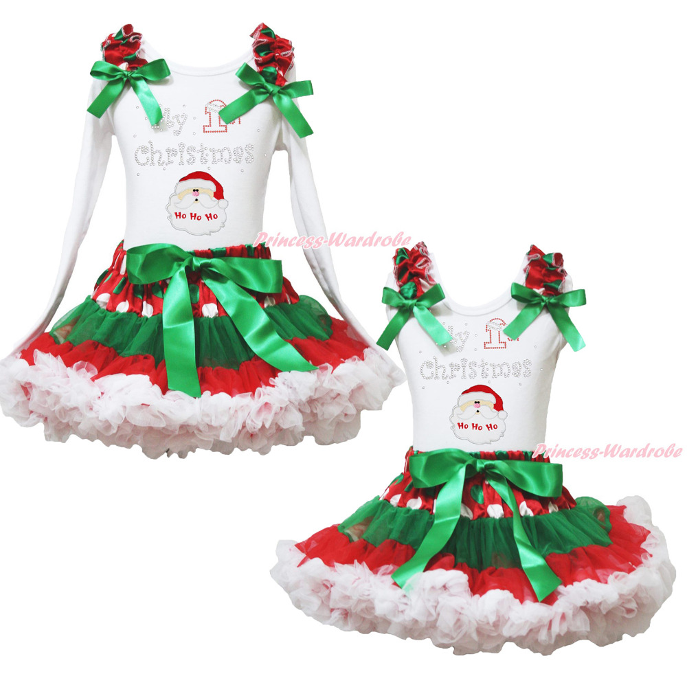 MY 1ST Christmas Santa Claus White Top Xmas Dot Waist Girls Pettiskirt Set 1-8Y my 1st christmas santa claus white top xmas dot waist girls pettiskirt set 1 8y