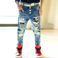 Crianças Dos Desenhos Animados Imprimir Jeans Luz Letras Calça Casual Para Meninos Calças Adolescentes Meninas Denim Calças Jeans Da Moda Crianças Outwear TZ144