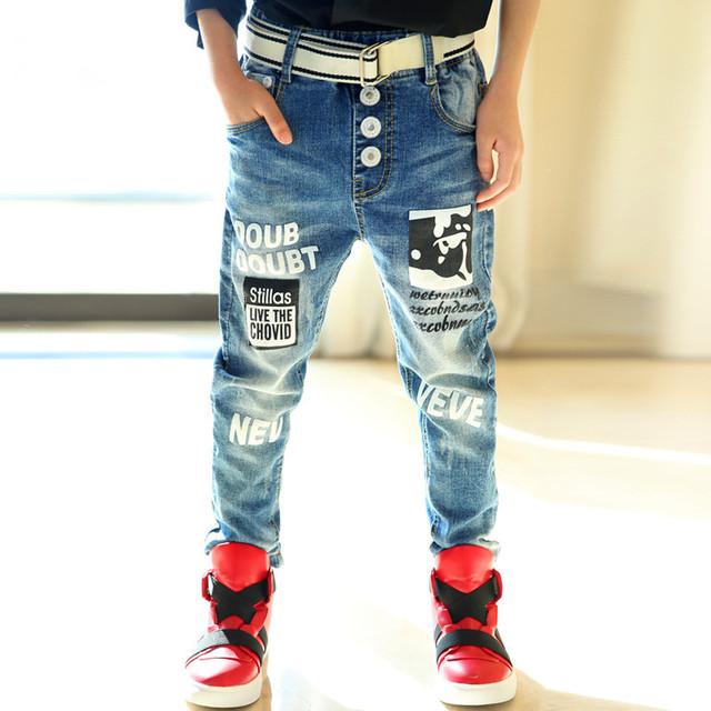 Niños de Impresión de Dibujos Animados Pantalones Vaqueros Luz Cartas Pantalones Casuales Para Pantalones de Los Muchachos Adolescentes Niñas Denim Jeans Moda Niños Outwear TZ144