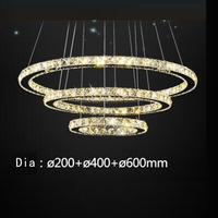 New LED Office Round Crystal Pendant Simple Modern Living Room Light Dining Room Three Bedroom Creative