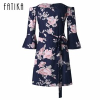 FATIKA 2017 Autumn New Women Fashion Off The Shoulder Flare Sleeve Flowers Pattern Casual Summer Mini