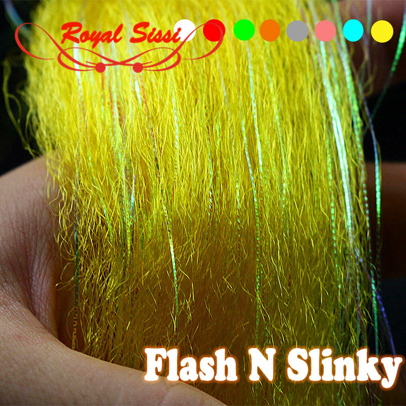 Fly fishing tying synthetic material Flash N Slinky fiber long shimmer hair fuzzy fiber for baitfish fly tying with Gliss'N Glow цена 2017