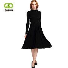 a0a3c10ac GOPLUS otoño Vintage punto plisado Vestido Mujer cuello alto Mediados de  manga larga-becerro vestidos