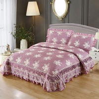 Patchwork Floral Bedspread Queen size Bed cover set Mattress topper Blanket Pillowcase couvre lit colcha Coverlet New