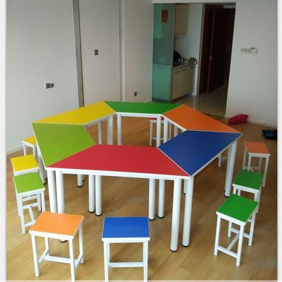 School furniture, student desks and chairs in a circle combination