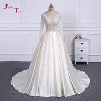 Jark Tozr Long Sleeve Ball Gown Princess Wedding Dress 2018 Crystal Pearls Bodice Ivory Skirt Noivas Vestidos de Noiva Bruiloft