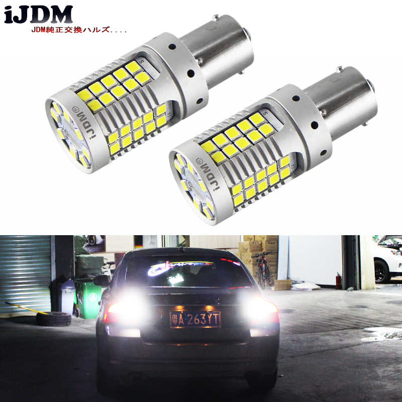 IJDM Error Free Super brillante 15W 35-SMD 1156 P21W 7506 LED bombillas de repuesto para Euro Car backback luces inversas, 12V Xenon blanco