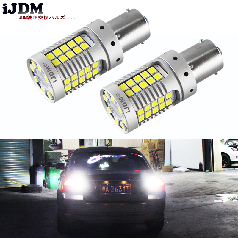 iJDM Error Free Super Bright 15W 35-SMD 1156 P21W 7506 LED Replacement Bulbs For Euro Car Backup Reverse Lights,12V Xenon White