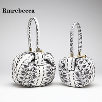 Zebra pattern women's handbags cow leather round hobos bag lady leopard print hand bag luxury brand designer shopping clutch bag