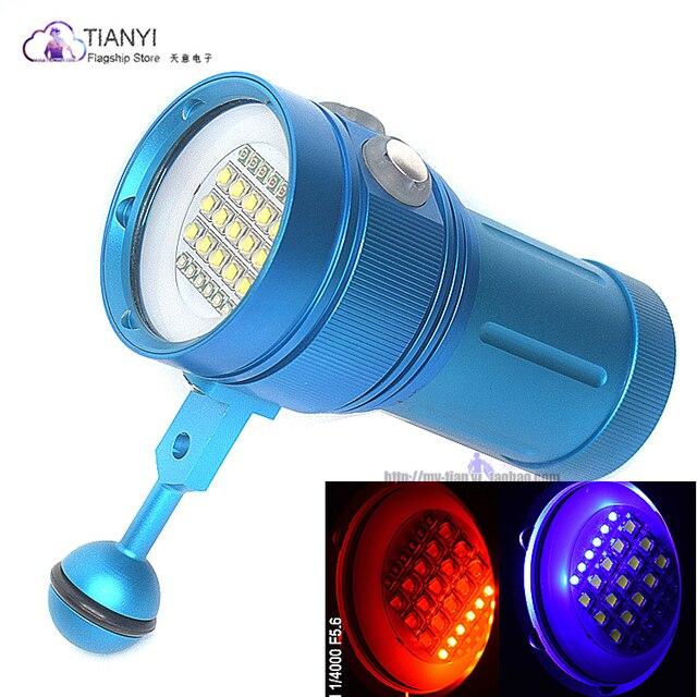 المهنية مصباح غوص 15 XML2 + 6 أحمر + 6 UV LED التصوير فيديو الغوص مصباح يدوي تحت الماء 100 متر الغوص الفيديو الضوئي
